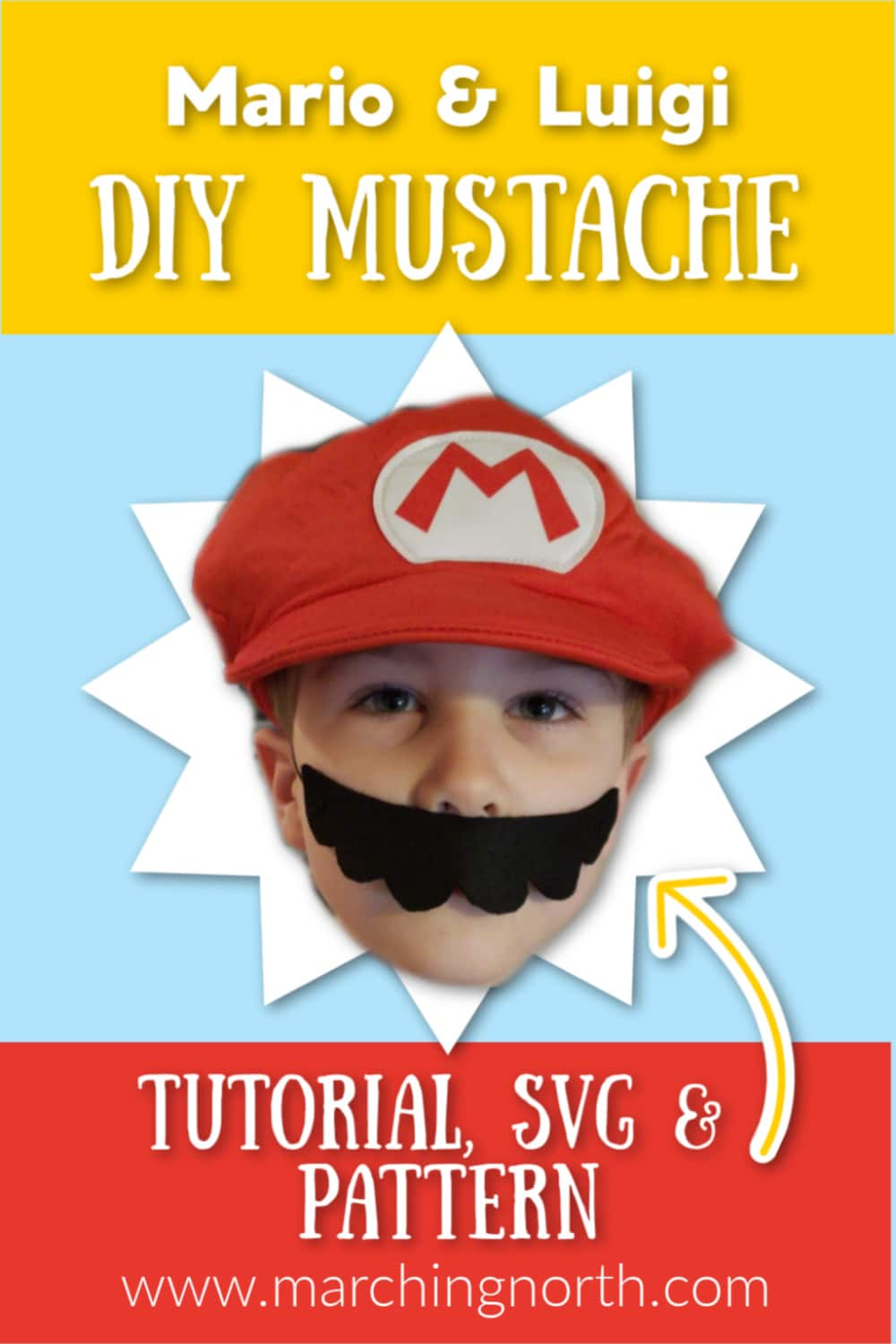 Mario Mustache DIY Pinable Image | Marching North