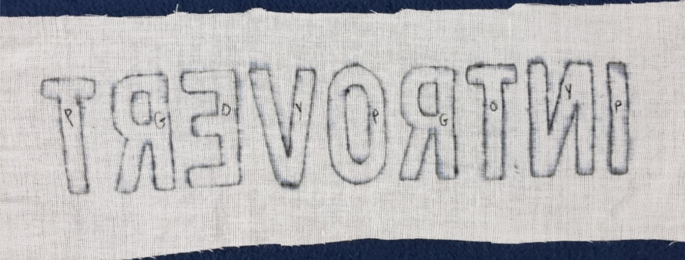 Letters marked with thread colors