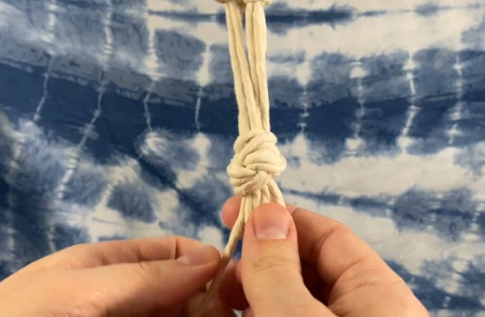 tie the bottom overhand knot  | macrame plant hanger tutorial