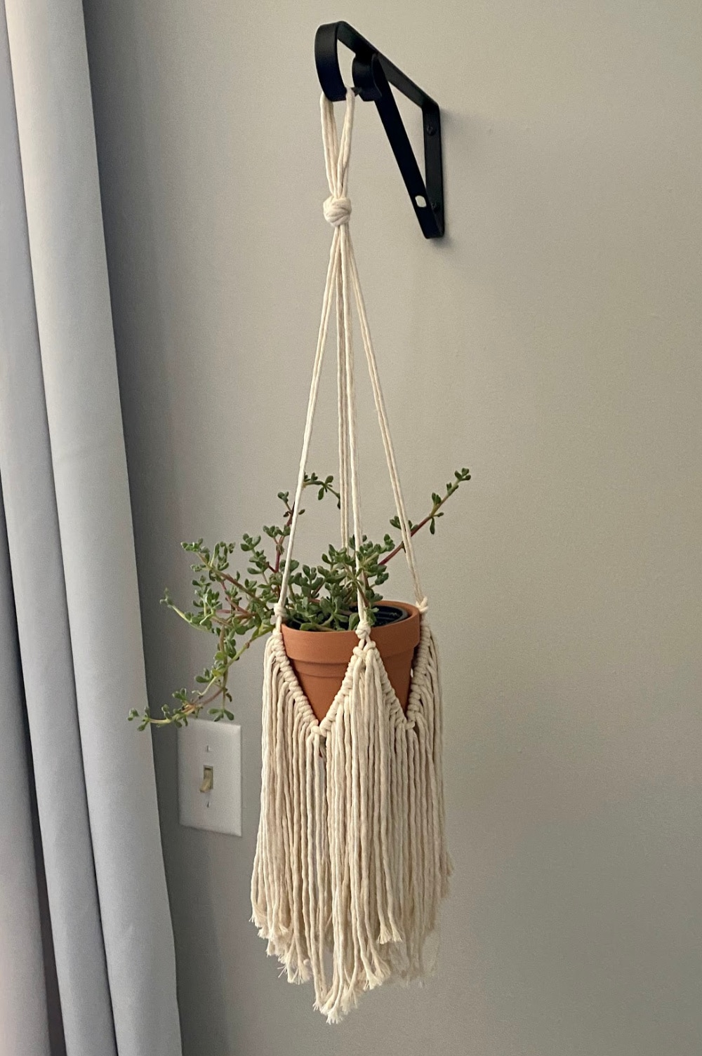 finished plant hanger  | macrame plant hanger tutorial